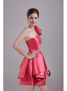 Charming Short One Shoulder Graduation Dress with Floral 1275