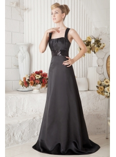 Cheap Black Straps Long Vintage Evening Dress