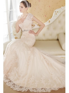 Cheap Exquisite Lace Bridal Gowns with Open Back