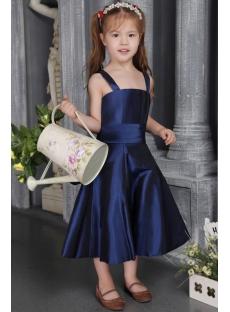 Cheap Navy Blue Taffeta Flower Girl Gown 2564