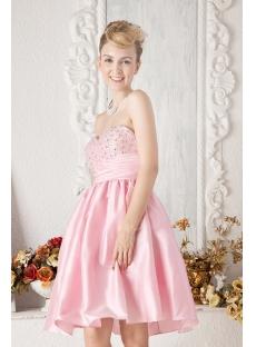 Cheap Pink Short Beaded Sweet 16 Dress