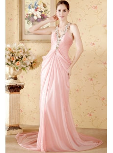 Cheap Romantic Column Pink Mature Beach Wedding Dress