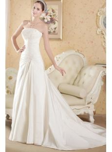Cheap Strapless Taffeta Princess Vintage Bridal Gown