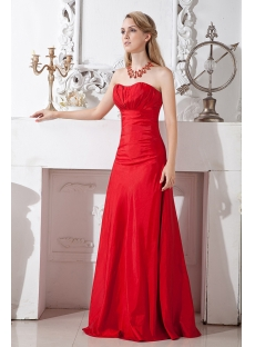 Cherry Long Red Bridesmaid Gown Inexpensive
