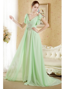 Chiffon Vintage Sage Plus Size Evening Gown