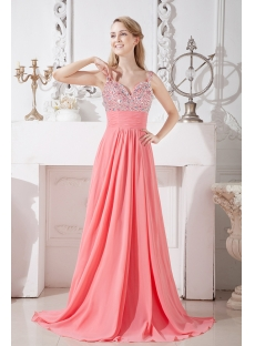 Coral Long Evening Dress for Party