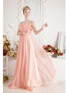 Coral Romantic Empire Prom Dress for Maternity:1st-dress.com