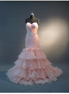 Coral pink Mermaid Trumpet Floor-Length Satin Organza Wedding Dress 4843