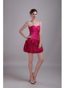 Cute Fuchsia Short Sweet 16 Dress with Drop Waist 1294