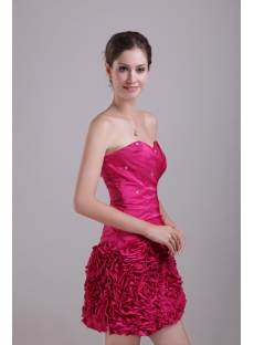 Cute Fuchsia Short Sweet 16 Dress with Drop Waist 1294