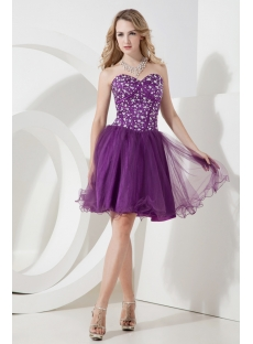 Cute Grape Cocktail Dress with Sweetheart