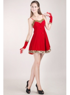 Cute Red Velvet Christmas Party Dress 2012 with Fur:1st-dress.com