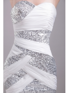 Cute White with Silver Short Homecoming Dress 1201