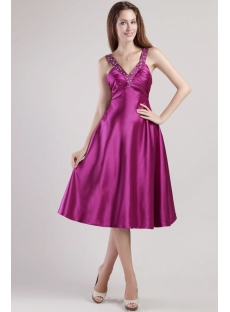 Deep Purple Short Chic Sexy Evening Dresses 2349