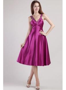 Deep Purple Short Chic Sexy Evening Dresses 2349