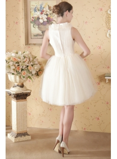 Discount Ivory Puffy Modest Short Bridal Gowns