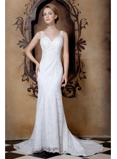 Elegant Sheath Beach Lace Wedding Gowns