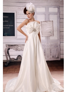 Ivory Strapless Brilliant Charmeuse Pregancy Wedding Dress