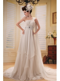 Chic Empire One-Shoulder Chiffon Maternity Bridal Gown
