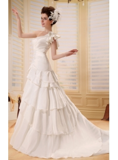 Empire One-Shoulder Court Train Chiffon Charmeuse Wedding Dress