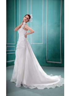 Empire One-Shoulder Court Train Satin Organza Wedding Dress With Ruffle Flower(s)  F-122