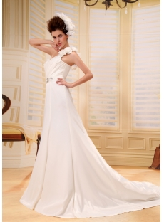 Romantic Spring One Shoulder Maternity Wedding Gown With Flowers