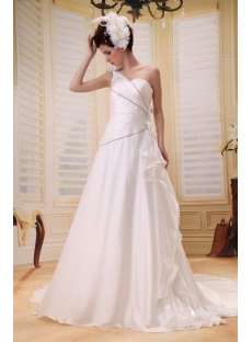 Empire One-Shoulder Floor-Length Chiffon Wedding Dress With Ruffle Flower(s) F-060