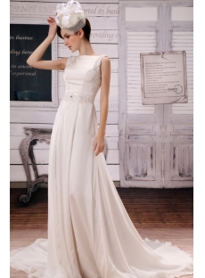 Ivory Modest Chiffon Bridal Gown with Open Back
