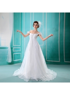 Empire Scoop Neck Floor-Length Silk-like Satin Maternity Wedding Dress With Ruffle F-078