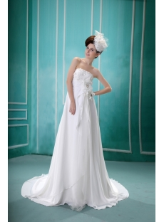 Ivory Strapless Floor-Length Chiffon Maternity Bridal Dress