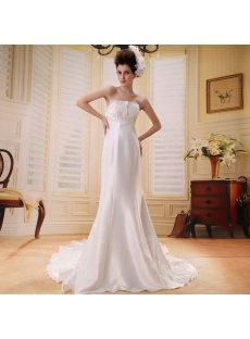Empire Strapless Watteau Train Chiffon Beach Wedding Dress With Ruffle Beadwork F-098