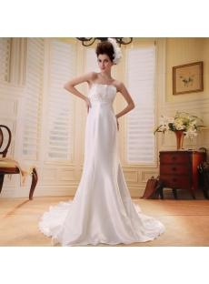Empire Strapless Watteau Train Chiffon Beach Wedding Dress With Ruffle Beadwork F-098