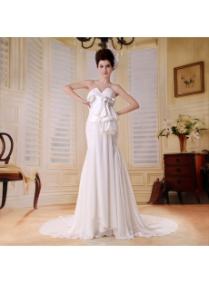 Empire Sweetheart Floor-Length Chiffon Wedding Dress With Ruffle Beadwork