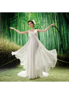 Empire V-neck Chiffon Maternity Wedding Dress With Ruffle