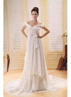 Tasteful Off Shoulder Chiffon Maternity Wedding Dress With Ruffle