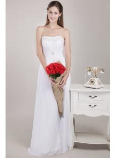 Floor Length Strapless Beaded Beach Bridal Gown