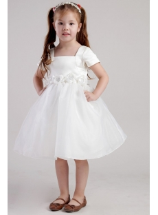Flower Girl Dresses Ivory with Short Sleeves 2404