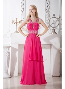 Fuchsia Chiffon Formal Evening Gown Long