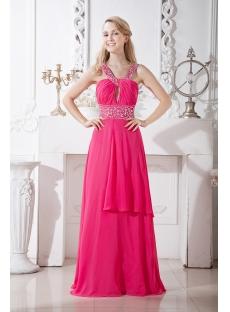 Fuchsia Chiffon Formal Evening Gown Long