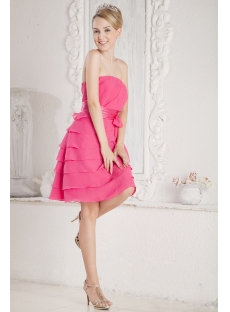 Fuchsia Chiffon Petite Short Graduation Dress
