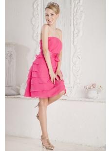 Fuchsia Chiffon Petite Short Graduation Dress