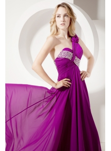 Fuchsia Sexy Pretty Prom Dress with One Shoulder