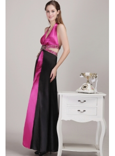 Fuchsia and Black Halter Sexy Evening Dress with Open Back