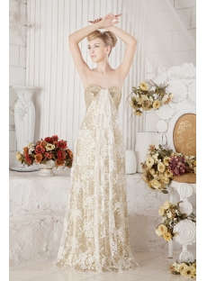 Gold Sequins Evening Dress for Plus Size
