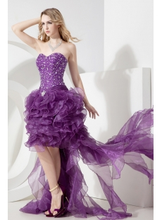 Grape Strapless High Low Cocktail Dress with Train