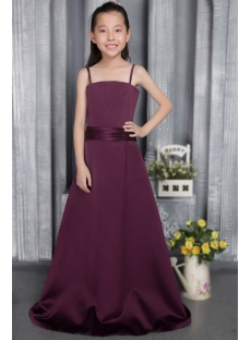 Grape Straps Long Junior Bridesmaid Gown 2835