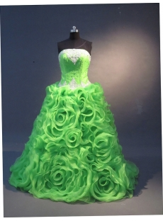 Green Ball Gown Princess Strapless Satin Organza Quinceanera Dress 1598