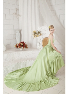 Green High-low Hem Bridal Gown Cheap