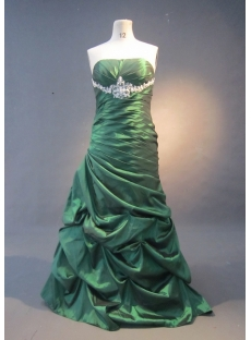 Green Mermaid Trumpet Floor-Length Taffeta Prom Dress 1596