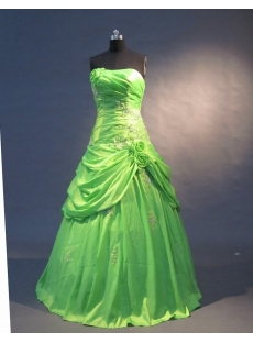 Green Strapless Sweetheart Floor-Length Taffeta Quinceanera Dress 1562